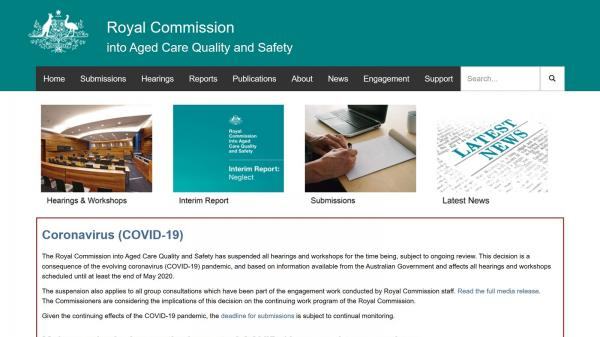 Royal Commission into Aged Care Quality and Safety website screenshot