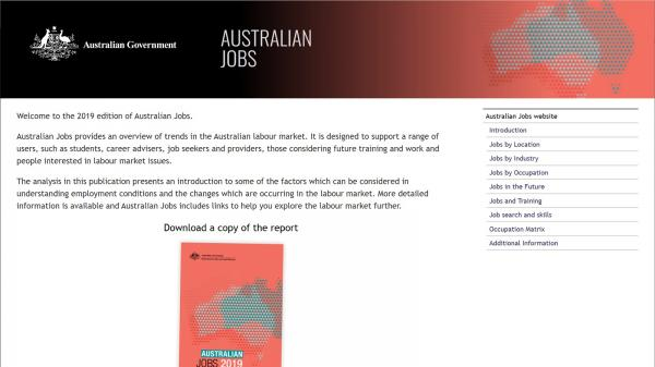 Australian Jobs website screenshot