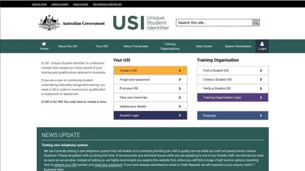 Unique Student Identifier - Beta website screenshot