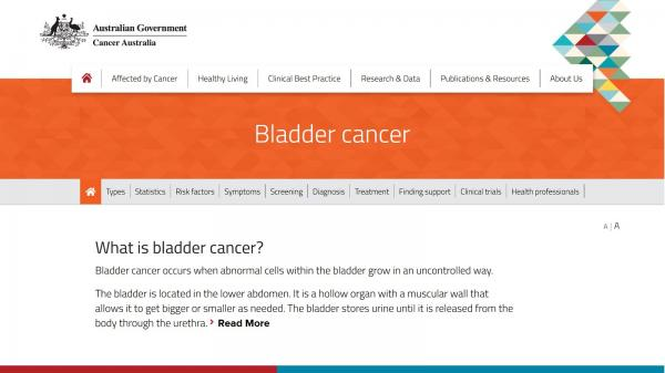 Bladder cancer website screenshot