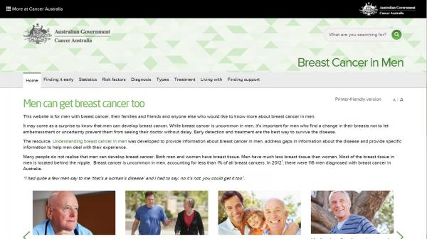 Breast Cancer in Men website screenshot