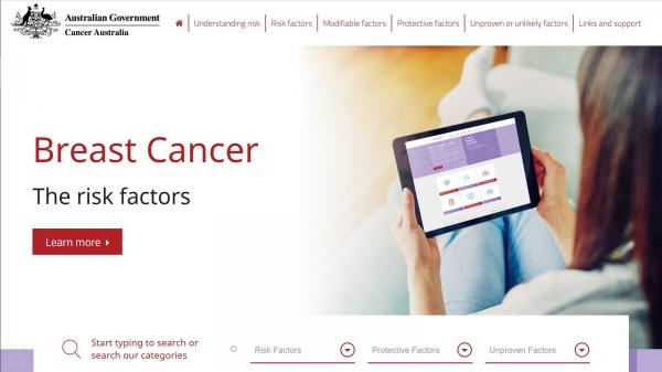 Breast cancer website screenshot