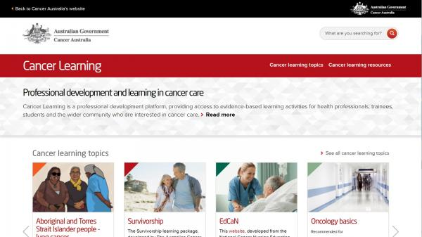 Cancer Learning website screenshot