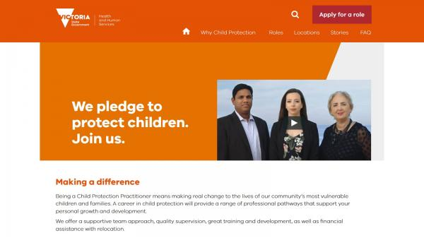 Child Protection Jobs website screenshot