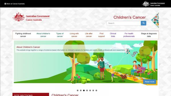Children's Cancer wesite screenshot