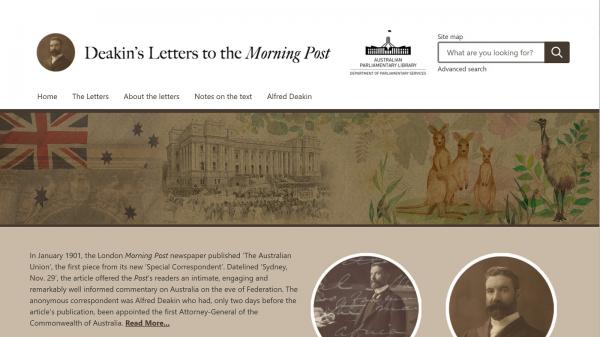 Deakins Letters to the Morning Post website screenshot