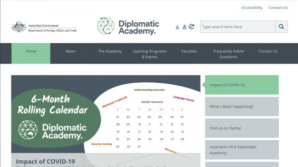 Diplomatic Academy website screenshot