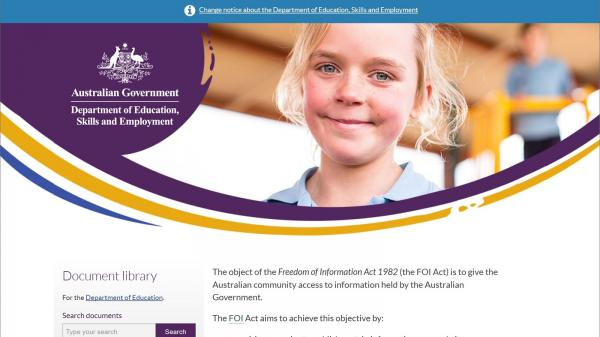 Department of Education Document Library website screenshot
