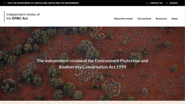 The Independent review of the Environment Protection and Biodiversity Conservation Act 1999 website screenshot