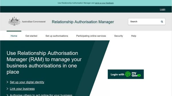 Use Relationship Authorisation Manager website screenshot