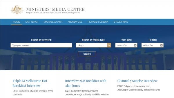Ministers Media Centre website screenshot