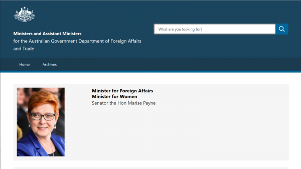 Ministers and Assistant Ministers for the Australian Government Department of Foreign Affairs and Trade website screenshot