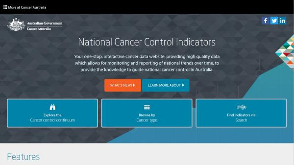 National Cancer Control Indicators website screenshot