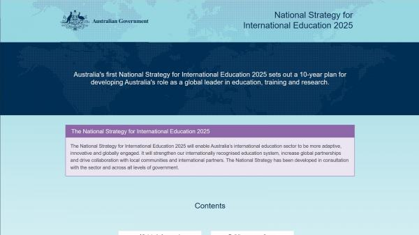 National Strategy for International Education 2025 website screenshot