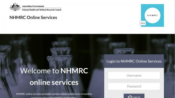 NHMRC Online Services website screenshot