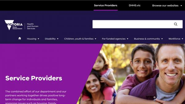 DHHS Service Providers website screenshot