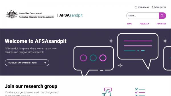 Australian Financial Security Authority - Sandpit website screenshot