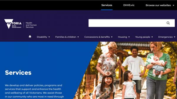 DHHS Services website screenshot