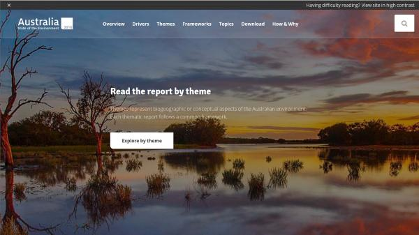 Australian State of Environment Report website screenshot