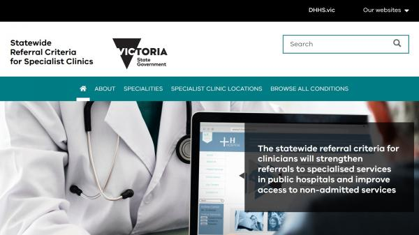 Statewide Referral Criteria for Specialist Clinics website screenshot