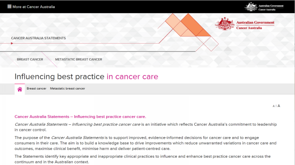 Cancer Australia Statement - Influencing best practice cancer care website screenshot