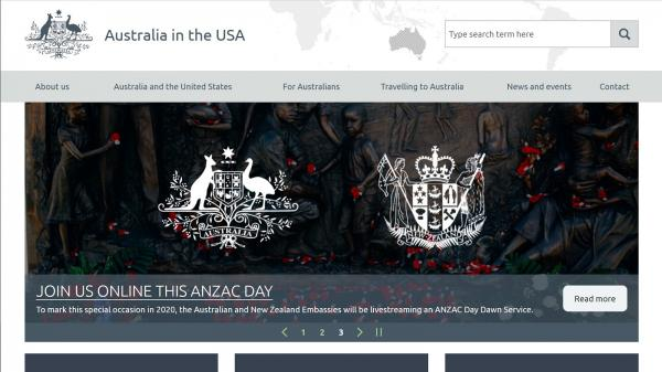 Embassy of Australia United States of America website screenshot