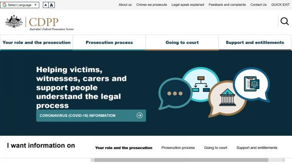 Commonwealth Director of Public Prosecutions - Victims and Witnesses website screenshot
