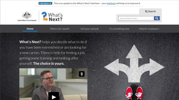 What's Next websit screenshot