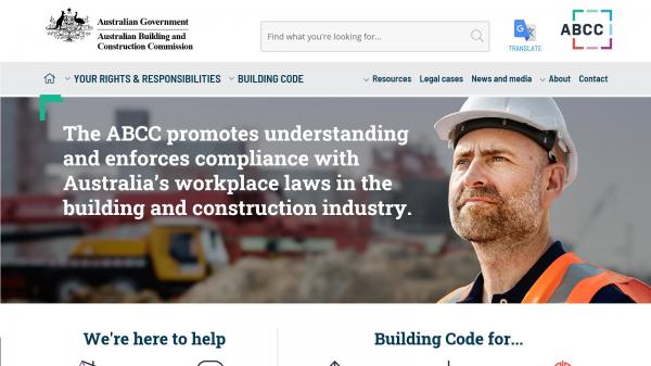 Australian Building and Construction Commission website screenshot