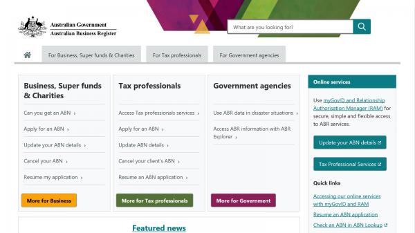 Australian Business Register website screenshot