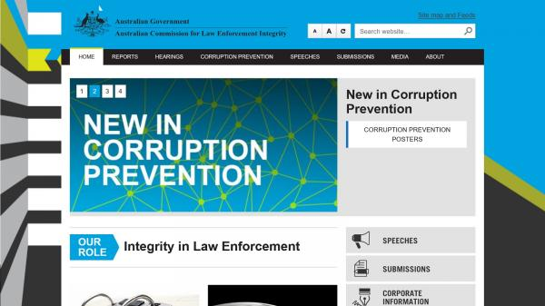 Australian Commission for Law Enforcement Integrity website screenshot