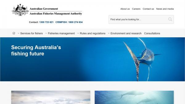 Australian Fisheries Management Authority website screenshot