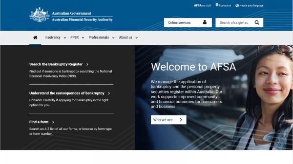 Australian Financial Security Authority website screenshot