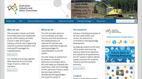 Australian Industry and Skills Committee website screenshot