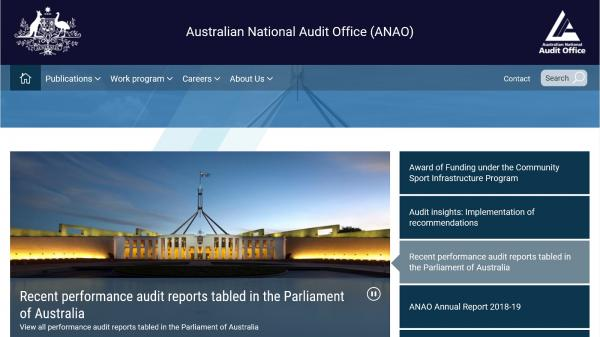 Australian National Audit Office website screenshot