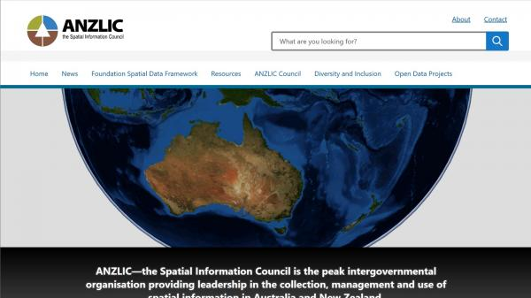 ANZLIC Council website screenshot