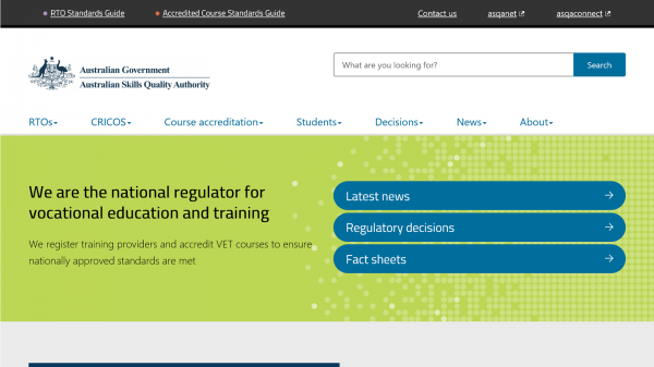 Australian Skills Quality Authority website screenshot