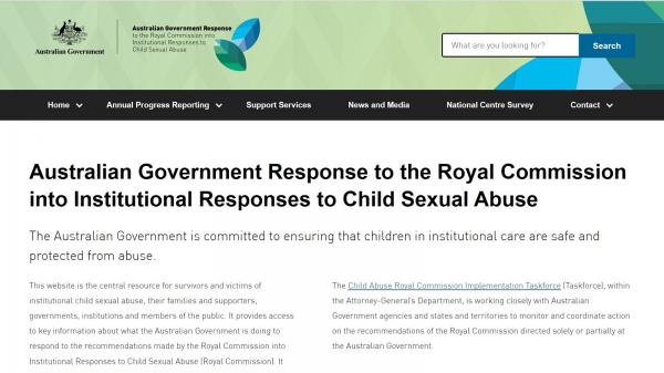 Australian Government Response to the Royal Commission into Institutional Responses to Child Sexual Abuse