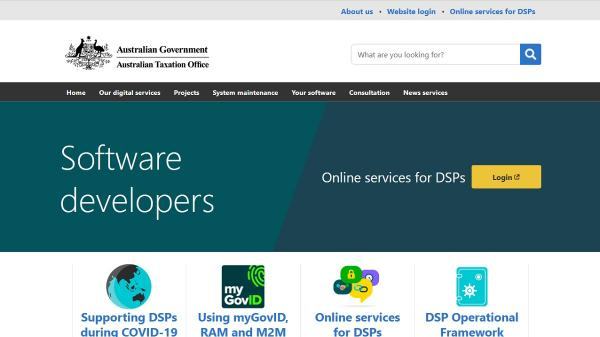 Software Developers homepage screenshot
