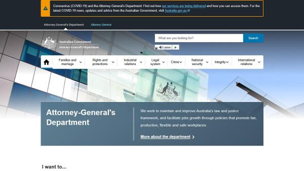 Attorney-General's Department homepage screenshot