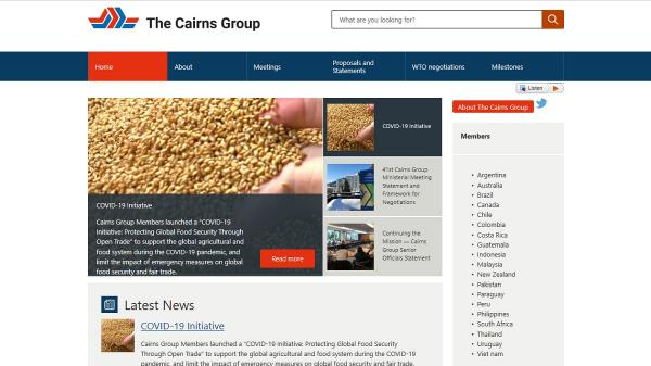 The Cairns Group homepage screenshot