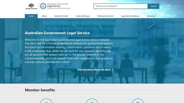 Australian Government Legal Service homepage screenshot