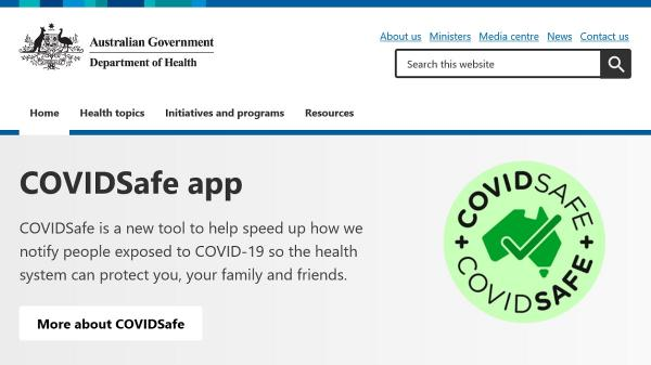 Department of Health homepage screenshot