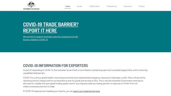 Trade Barriers homepage screenshot