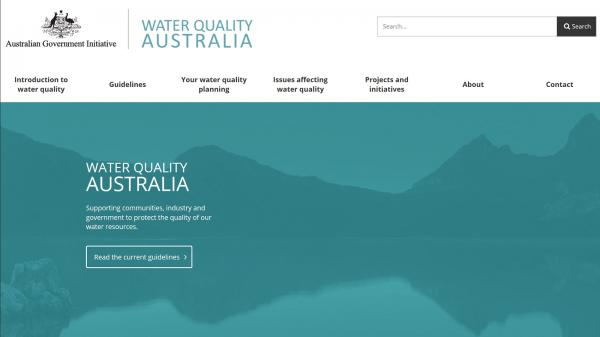Water Quality Australia homepage screenshot