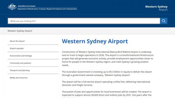 Western Sydney Airport homepage screenshot