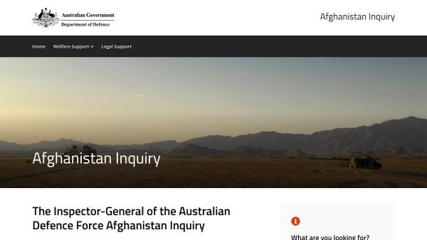 Afghanistan Inquiry homepage screenshot