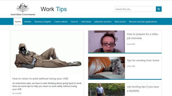 Work Tips homepage screenshot
