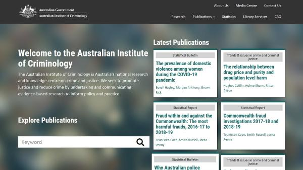 Australian Institute of Criminology homepage screenshot