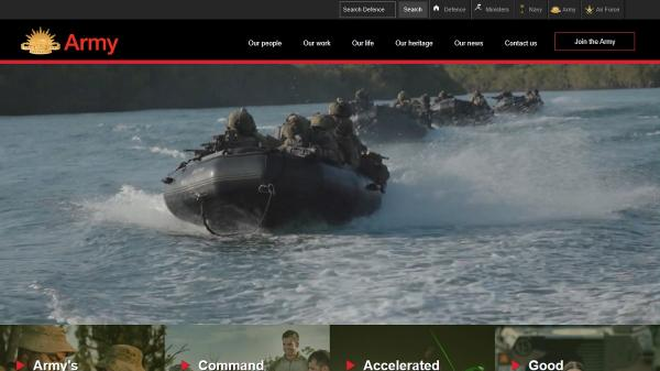 Army homepage screenshot